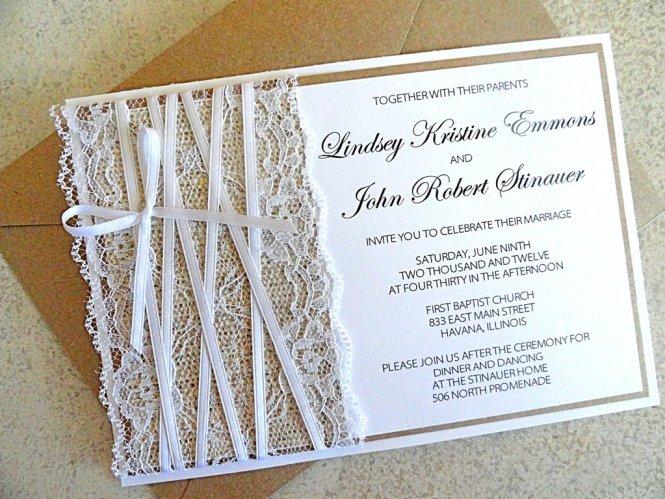 Lace Embellished Burlap Wedding Invitations