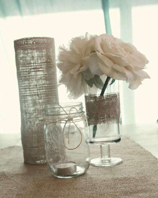 Simple Elegant Wedding Reception Centerpieces Burlap