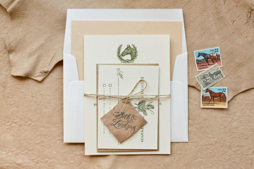 Elegant Country Western Wedding Invitation Leather Twine Details