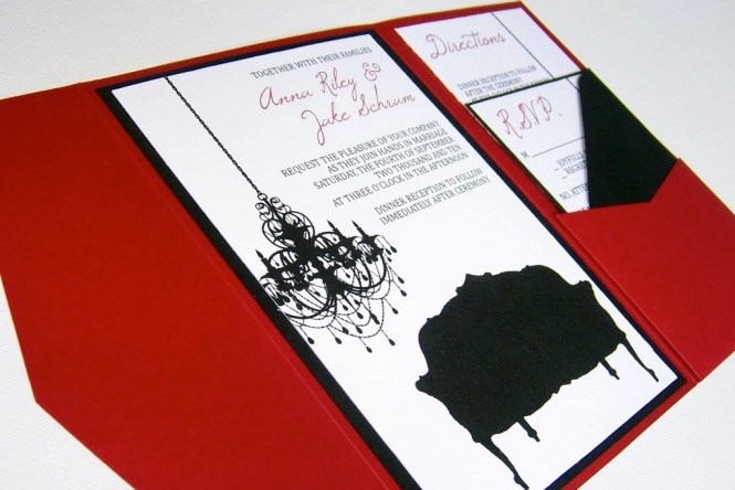 Best Wedding Invitation In Black And White Damask With Red Ribbon Diamond Buckle Brooch