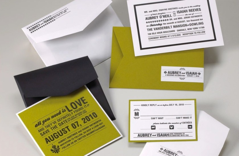 Wedding Invitations For Modern Weddings Etsy Finds Pea Green Black White