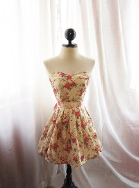 floral printed bridesmaid dress vintage inspired | OneWed.com