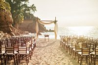 beach wedding elegant ceremony setup