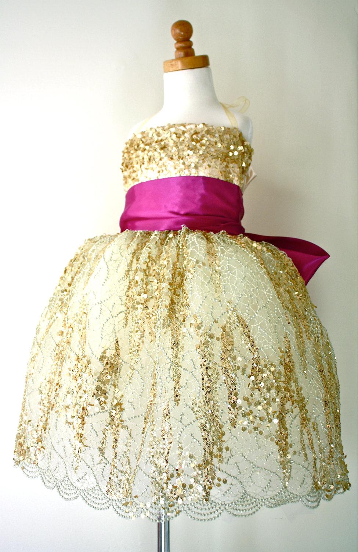gold magenta flower girl dress  OneWedcom