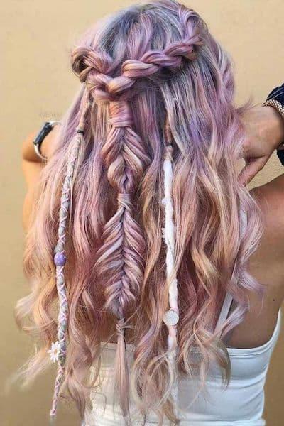 fryzura boso warkocz ozdoby