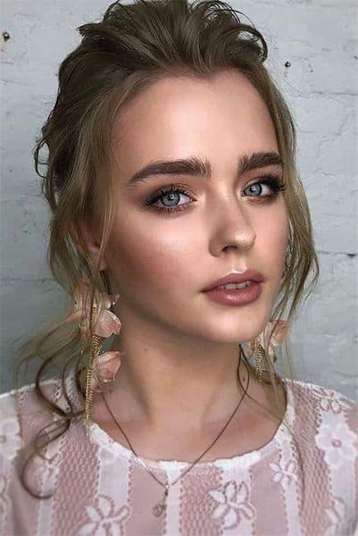 makijaż ślub podkreślone brwi
