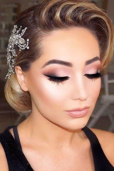makijaż ślubny cienie oczy dla blondynek