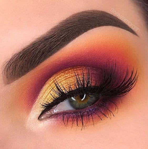 makijaż oczy koral złoto