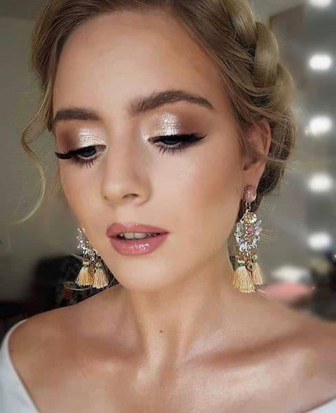 makijaż ślubny metaliczny dla blondynek
