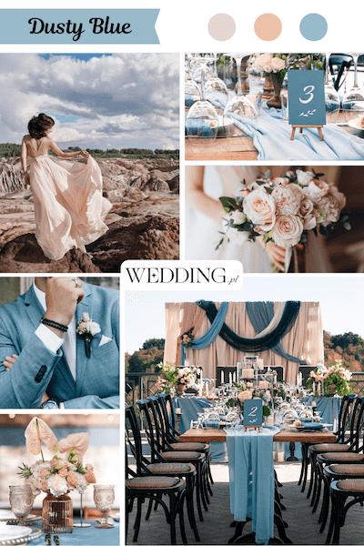 motyw przewodnie wesela Dusty blue