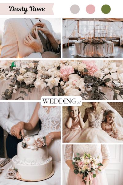 kolor przewodni wesela Dusty rosę
