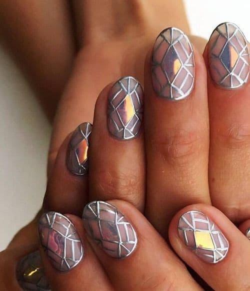 manicure geometryczne wzory srebro