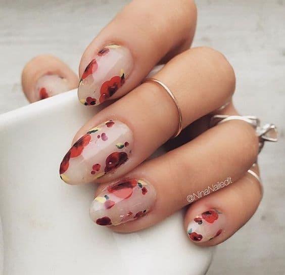 manicure wesele kwiatowe wzory