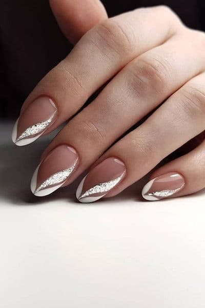 manicure french srebro