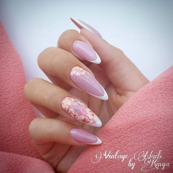 manicure ślubny french kwiaty