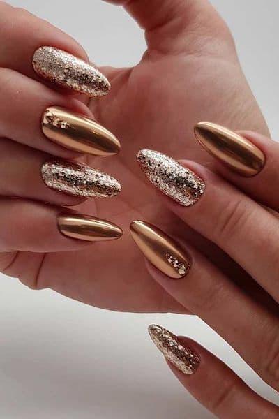manicure ślubny cera śniada złote