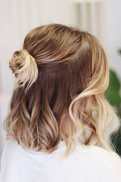 upięcie krótkie włosy pół kok wesele