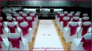 personalised wedding aisle runner design with a pink and silver tiny hearts border