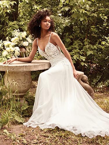 Seraphina Wedding Dress Rebecca Ingram | chiffon a-line lace wedding dress