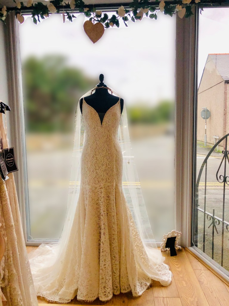 Rebecca Ingram wedding dress. Lucille is a delicate allover lace fit-and-flare wedding dress. Complete with beaded spaghetti straps, an illusion V-neckline, and V-back all lined with pearls, beads and Swarovski crystals. Seen here on a mannequin in Wedding Belles window display