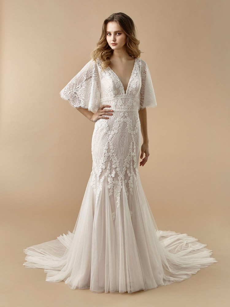 Beautiful by Enzoani lace mermaid wedding dress with floaty elbow length sleeves channeling boho bridal style