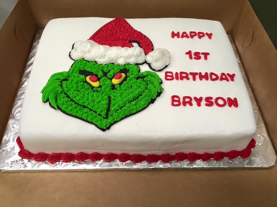 Grinch birthday cake