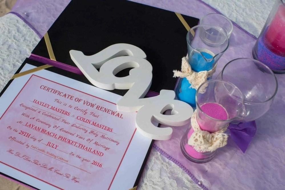 Phuket Wedding Vow Renewal Certificate Wedding Celebrant Phuket