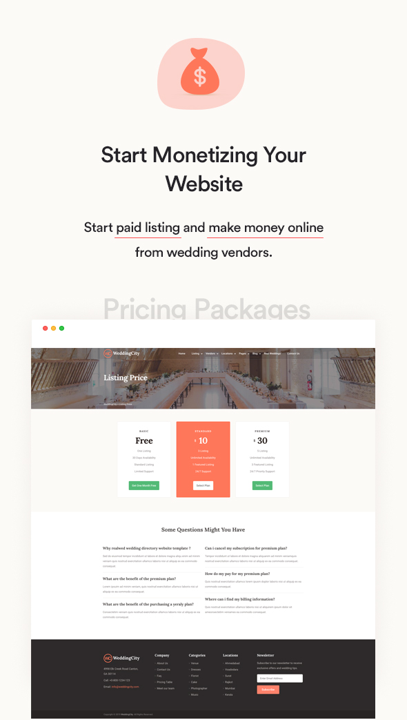 Wedding city - Directory & Listing WordPress Theme pricing plan design