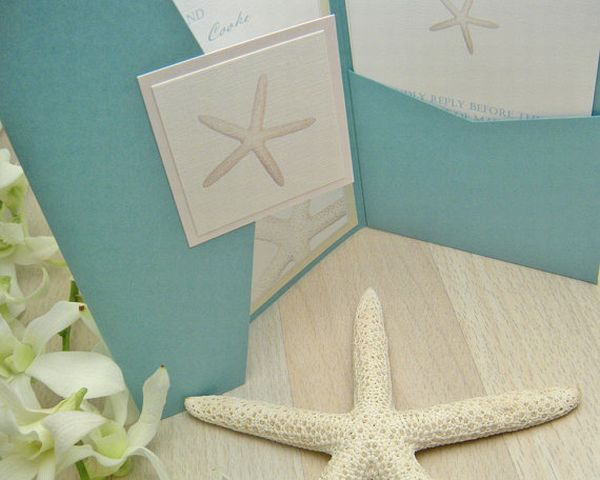 Beach wedding invitations with a real starfish