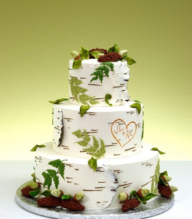 Birch-style wedding cake