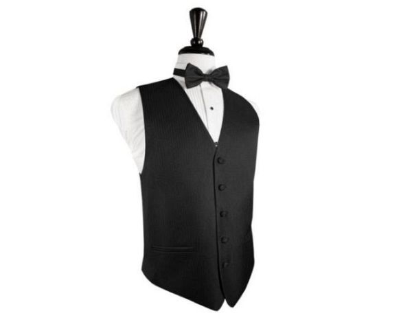 Black tuxedo vest: Heringbone pattern
