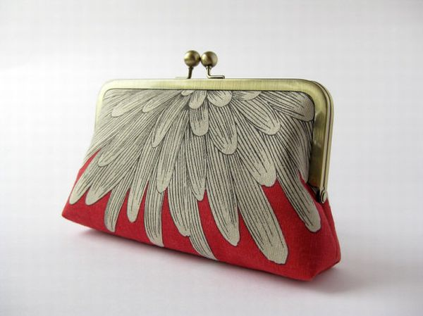 Chrysanthemum petals silk lined clutch