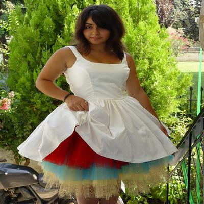 Colourful short wedding dress