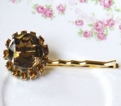 Deep Golden Yellow Brown Bridal Hair Pin