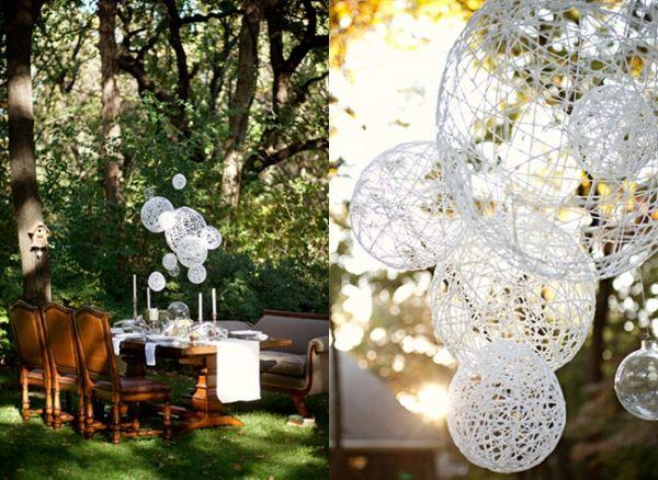 DIY String chandeliers for wedding decor