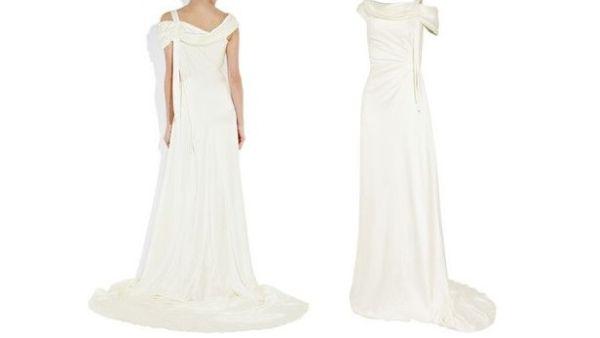 Draped silk-satin gown