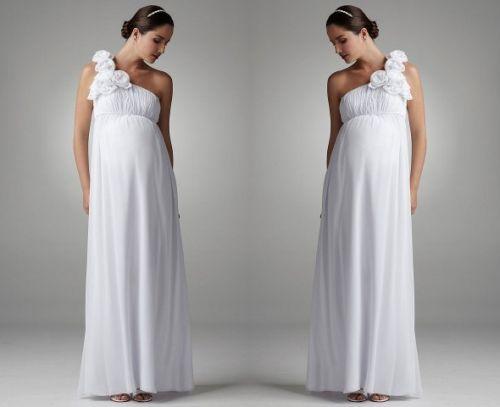 Floral One Shoulder Chiffon Maternity Dress