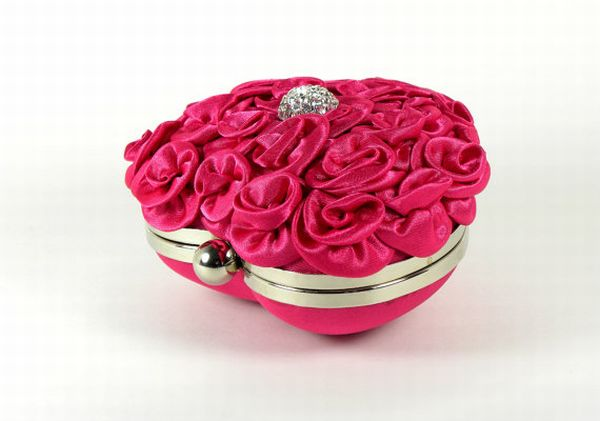 Fuchsia Heart Shaped Minaudiere Clutch