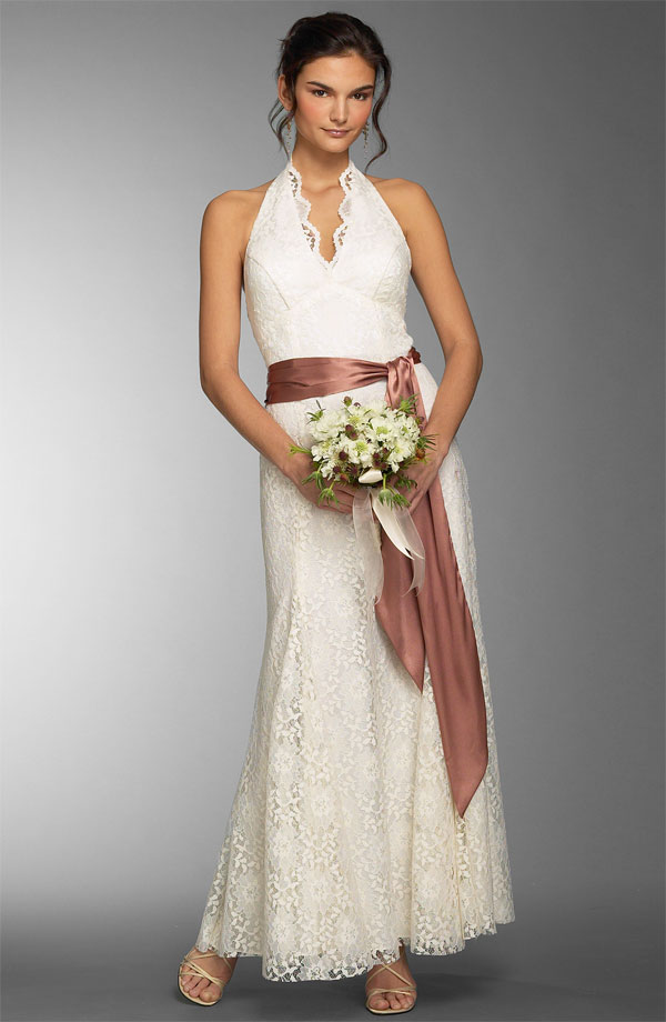Lace Halter Top Informal Wedding Gown