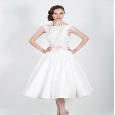 Off shoulder straight neckline pink band simple short wedding dress