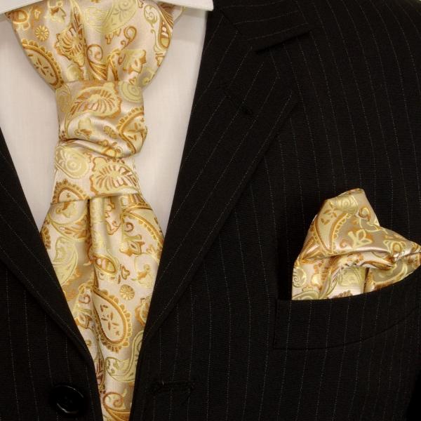 Paul Malone Ascot Tie Set, Gold Paisleys