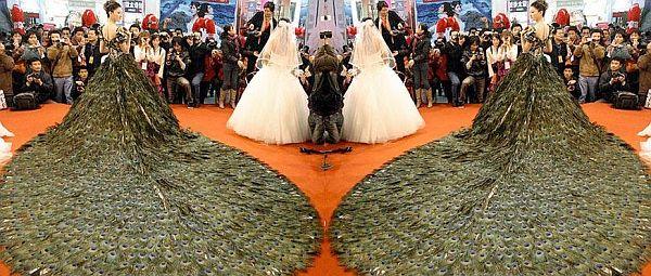 Peacock feather wedding dress