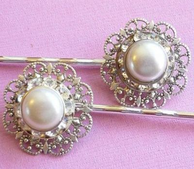 Pearl and Rhinestone Vintage Wedding Hair Pin