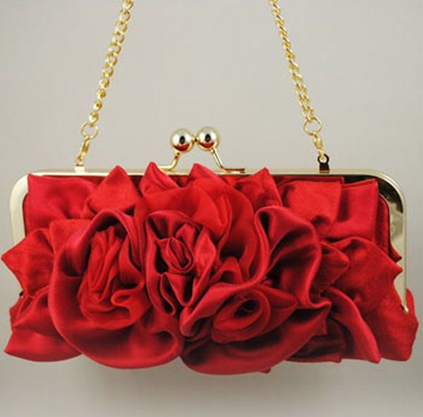 Red floral wedding clutch