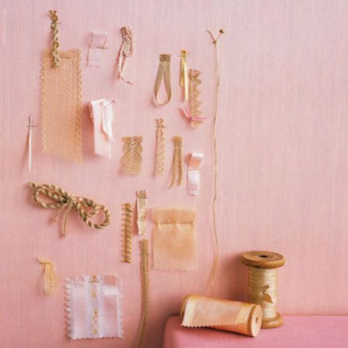 Ribbons and accents in pink and gold