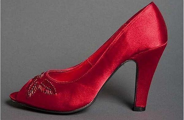 Satin Upper Stiletto Heel Pumps with Rhinestone wedding shoes