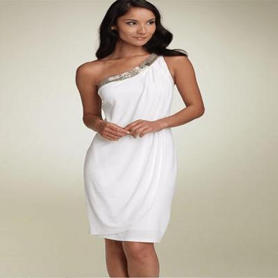 Simple A-line only one shoulder chiffon short wedding dress srwd0003