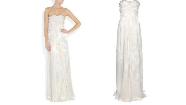 Strapless devoré-silk gown