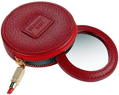 vanity red leather round mirror 49