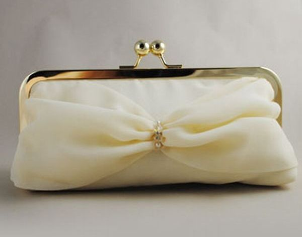 Vintage cream silk bridal clutch